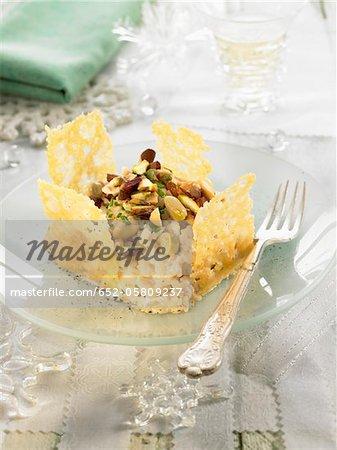 Risotto aux haricots blancs, les pistaches et les biscuits de tuile de parmesan