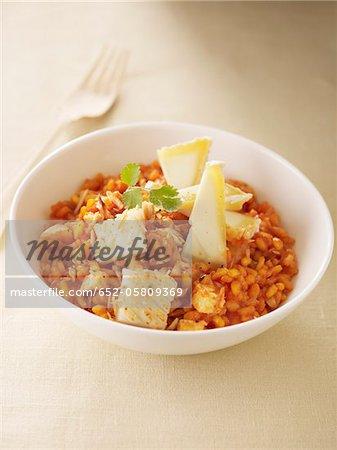 Tomate, poisson et risotto de fromage de chèvre