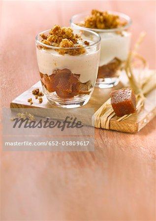 Pâte de coing, Fromage blanc aromatisé à la vanille et les flocons d'avoine