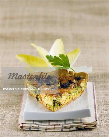 Slice of salmon-broccoli savoury tart