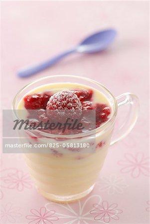 Mousse de chocolat blanc aux framboises