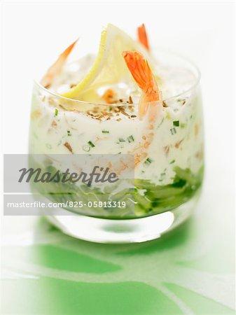 Crevettes et saumon frais Verrine