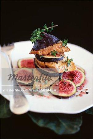 Foie gras et figues Mille-feuille de thym