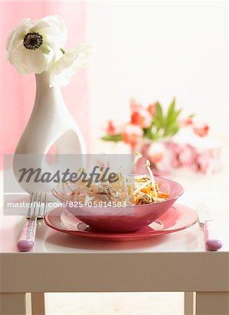 Carottes râpées, salade de haricots sprout et noyer