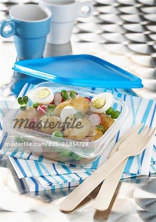 Touquet Ratte potato,radish,hard-boiled egg and watercress salad