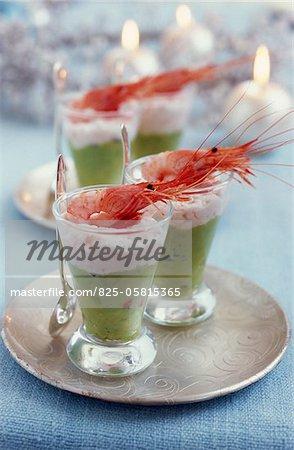 Cream of avocado with shrimp mousse