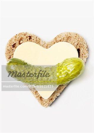 Bread,butter and gherkin heart