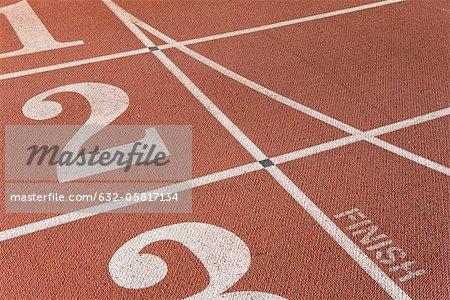 Lanes of running track, focus on lane two