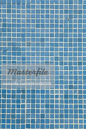 Detail of blue mosaic tiles