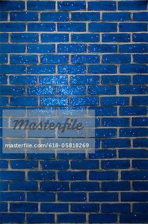 Blau Glitter Ziegelmauer