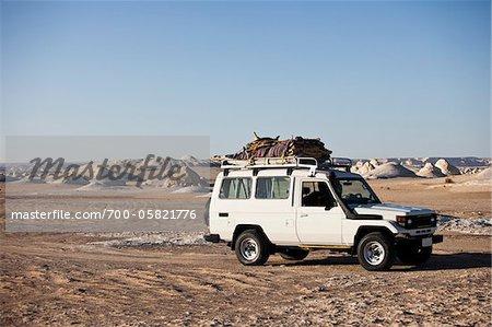 Jeep in White Desert, Western Desert, Egypt