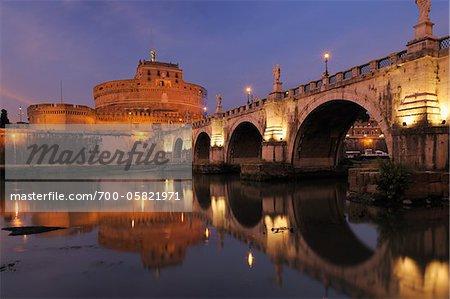 Castel Sant'Angelo and Ponte Sant'Angelo, Rome, Lazio, Italy