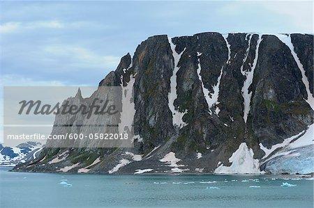 Mountain by Monacobreen Glacier, Haakon VII Land, Spitzbergen, Svalbard, Norway