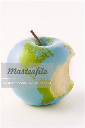 Globe on a bitten apple