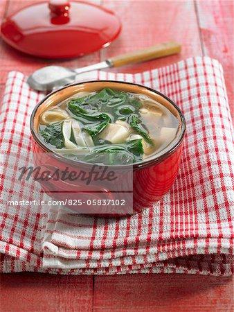 Soupe fideos, tofu et épinards