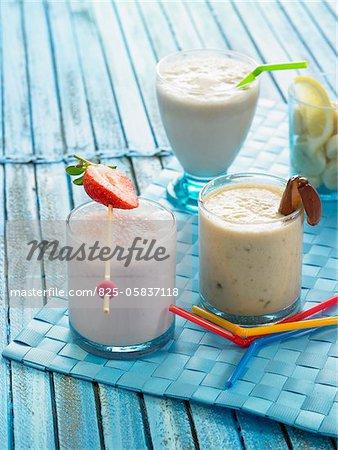 Milk shakes : strawberry, vanilla and banana