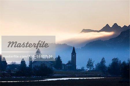 St. Lorenz Church, Sils-Baselgia, Sils im Engadin, Graubunden, Switzerland