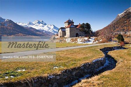 Castle at Lake Silvaplana with Piz de la Margna, Engadin, Grisons, Switzerland