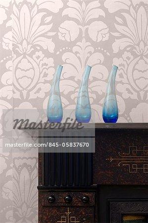 Home Interior Details. Vases on Mantlepiece