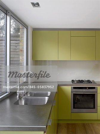 Edelstahl-Spüle uncurtained Fenster Küche Extension in Islington ...