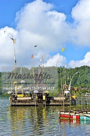 Indonesia, Bali, Ulun Danu Bratan temple, Galunghan festival, Bratan lake and pagoda