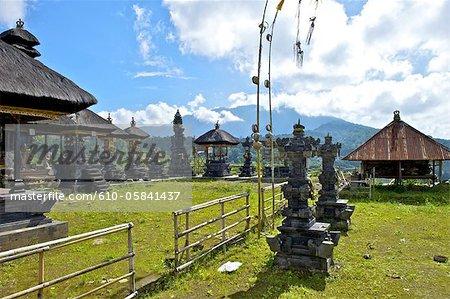 Indonesia, Bali, Ubud, temple and penjors
