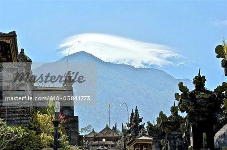 Indonesia, Bali, Besakih temple and mount Agung