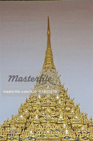 Thaïlande, Bangkok, Wat Pho, décoration de la porte