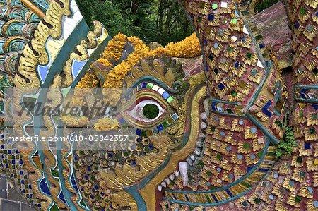 Thailand, Chiang Mai, wat phrathat doi suthep, detail of a stair