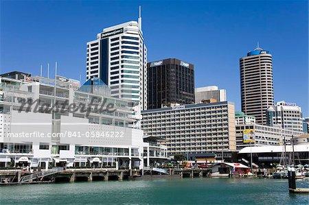 Princes Wharf et city skyline, Central Business District, Auckland, North Island, Nouvelle-Zélande, Pacifique