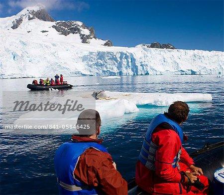 Touristes regarder un exposition au soleil leopard sceller de Zodiacs, île de Cuverville, péninsule Antarctique, l'Antarctique, les régions polaires