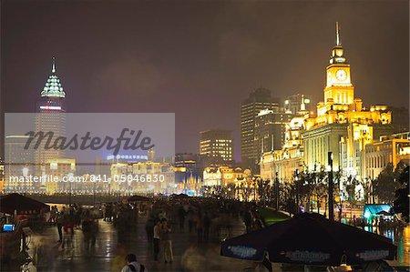 The Bund at night, Shanghai, China, Asia
