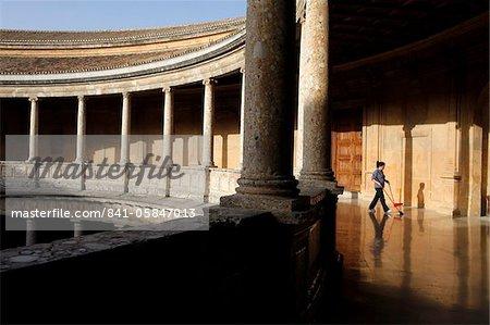 Palais de Charles Quint à l'Alhambra, patrimoine mondial UNESCO, Grenade, Andalousie, Espagne, Europe