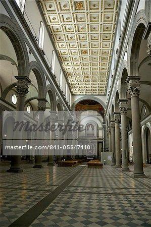 Nave of Basilica of San Lorenzo, Florence, Tuscany, Italy, Europe