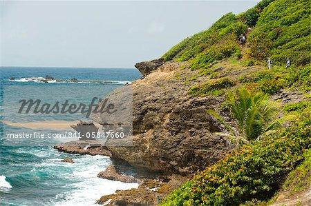 Section côtière du Grand Sentier de randonnée dans la presqu'île de la Caravelle, Caravelle, Martinique, îles sous-le-vent, Antilles, Caraïbes, Amérique centrale