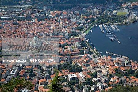 Vue sur la ville de Côme de Brunate, lac de Côme, Lombardie, lacs italiens, Italie, Europe