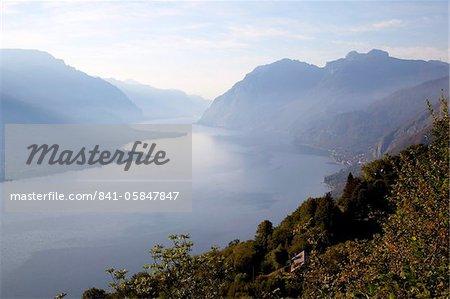Vue vers Lecco au lever du soleil, Civenna, Bellagio, lac de Côme, Lombardie, lacs italiens, Italie, Europe