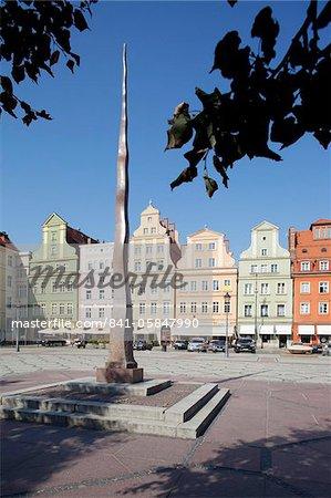 Architecture colorée, la place du sel, Old Town, Wroclaw, Silésie, Pologne, Europe