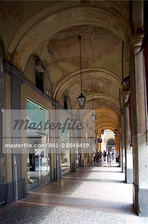Arcade and shops, Bologna, Emilia-Romagna, Italy, Europe