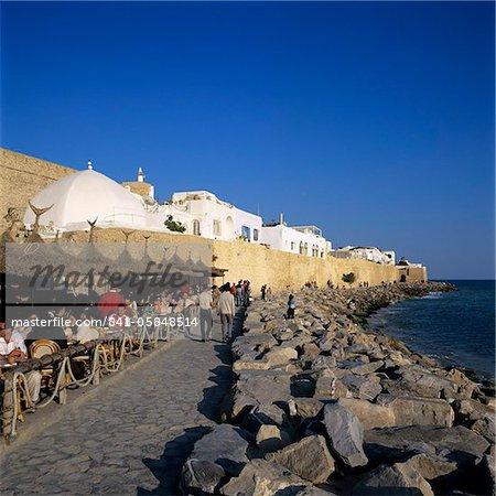 Scène de café à l'extérieur de la médina, Hammamet, Cap Bon, Tunisie, Afrique du Nord, Afrique