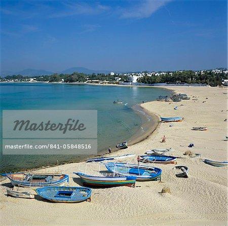 Découvre le long de la plage des murs de la médina, Hammamet, Cap Bon, Tunisie, Afrique du Nord, Afrique