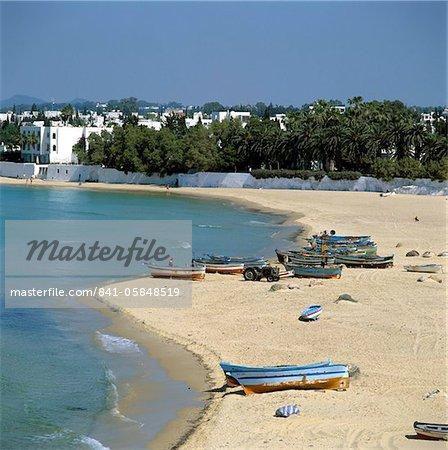 Vue sur la plage de la Medina, Hammamet, Cap Bon, Tunisie, Afrique du Nord, Afrique