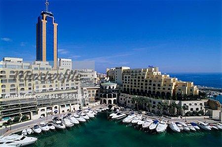 Portomaso Marina with exclusive apartments and Hilton Hotel, Paceville, St. Julian`s, Malta, Mediterranean, Europe