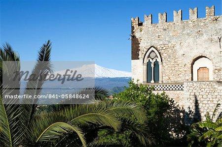 Vue Mont Etna, Taormina, Sicile, Italie, Europe