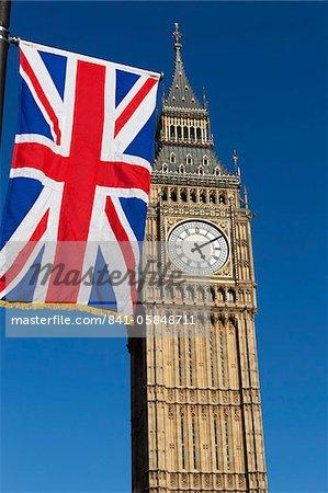 Big Ben with Union flag, Westminster, UNESCO World Heritage Site, London, England, United Kingdom, Europe