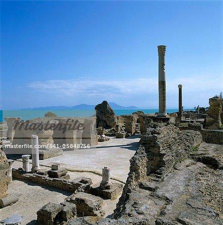 Ruins of ancient Roman baths, Antonine Baths, Carthage, UNESCO World Heritage Site, Tunis, Tunisia, North Africa, Africa