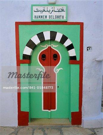 Porte d'entrée aux bains turcs dans la Medina, Hammamet, Cap Bon, Tunisie, Afrique du Nord, Afrique