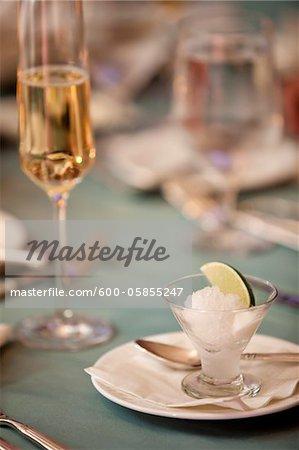 Lime Sorbet Dessert bei Hochzeit
