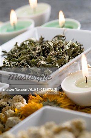 Feuilles de camomille et menthe séchée, bougies, gros plan