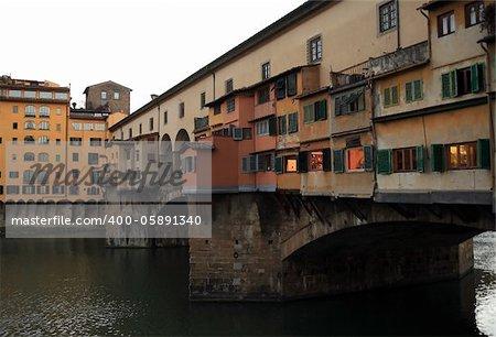 Closeup of famous Ponte Vecchio bridge at Arno river in Florence, Italy